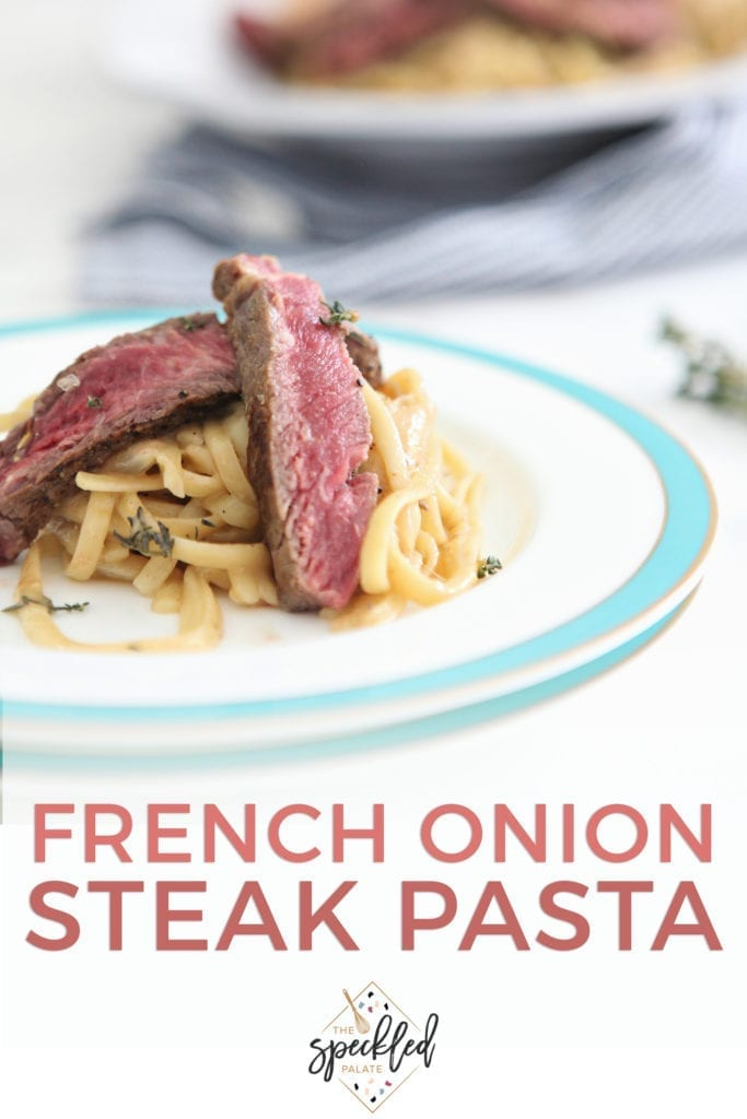 Close up of steak on top of pasta, with Pinterest text