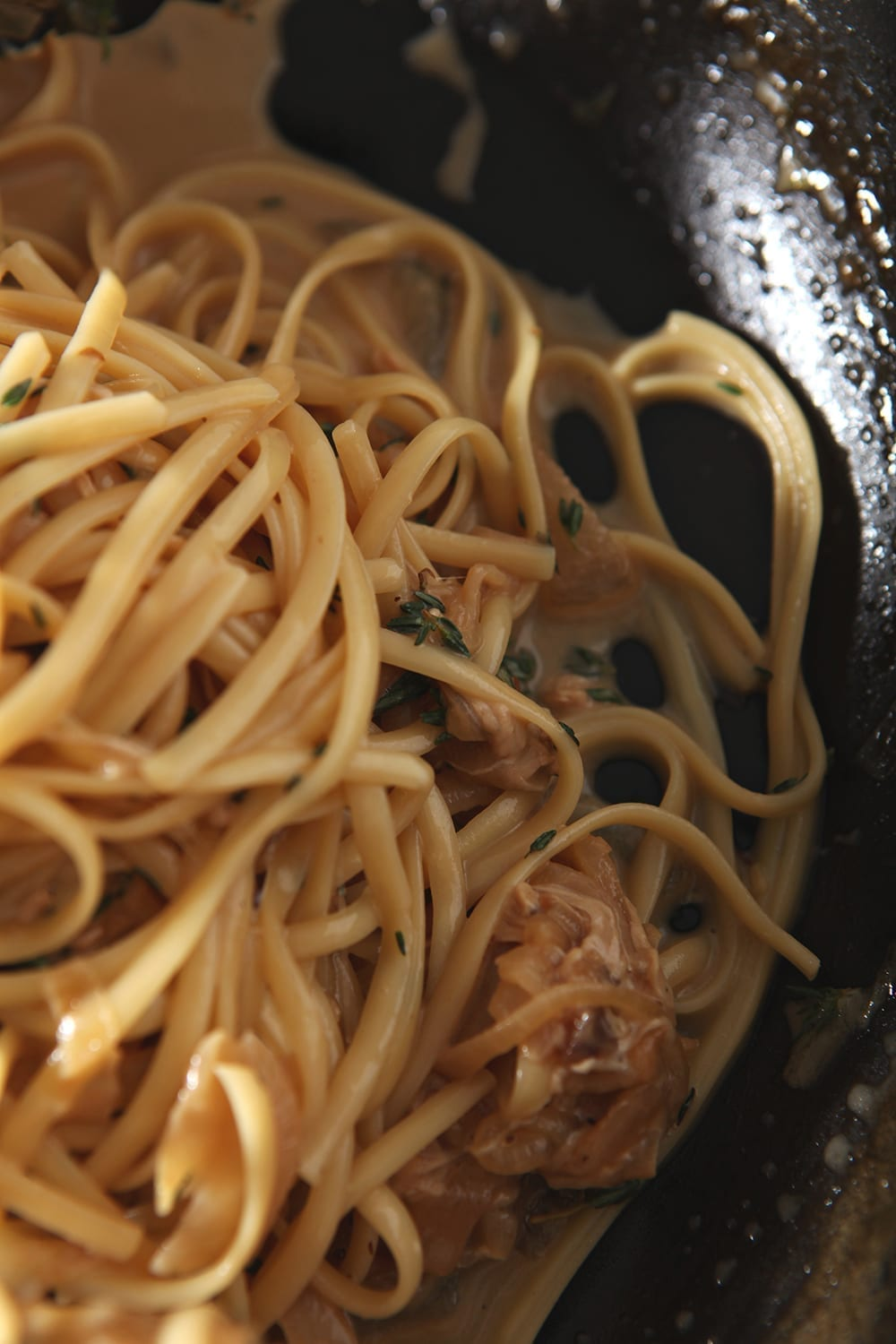 Close up of the pasta in the skillet before serving