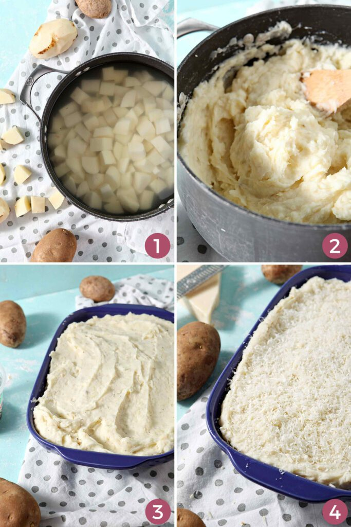 Collage showing how to make mashed potato casserole