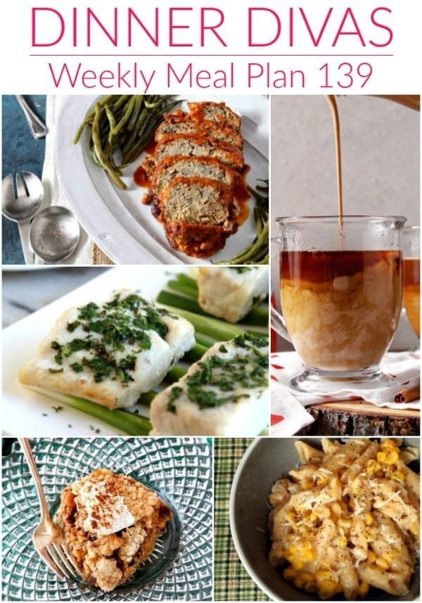 Collage for Dinner Divas Weekly Meal Plan 139, featuring five of the seven recipes shared