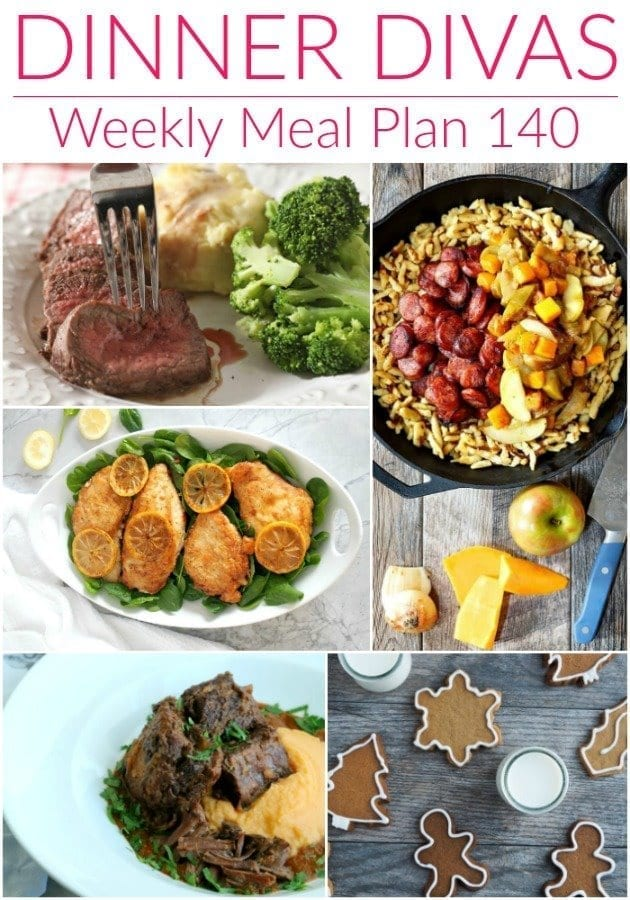 Collage for Dinner Divas Weekly Meal Plan 140, featuring five of the seven recipes shared