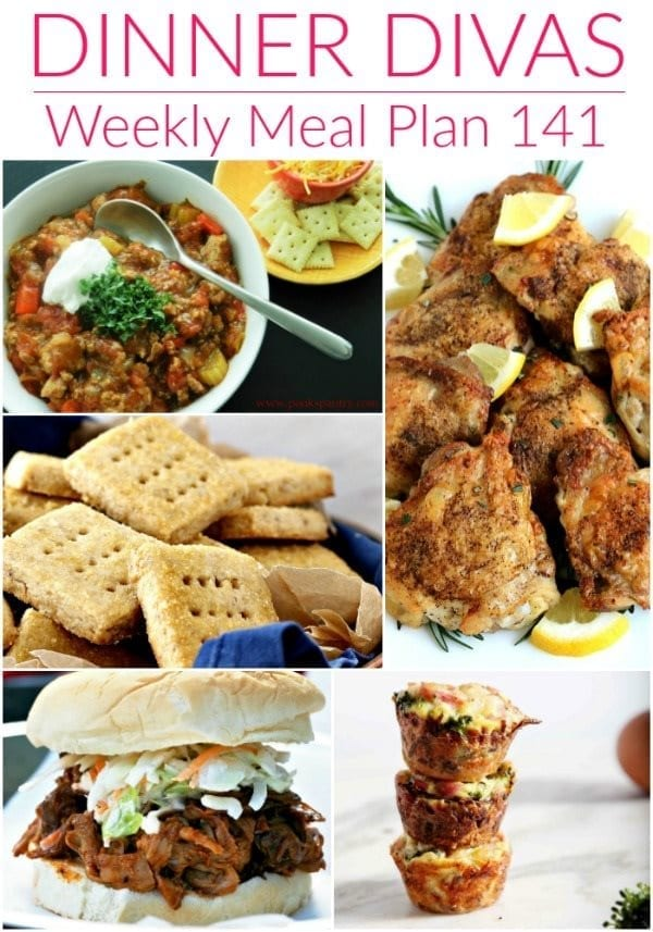 Collage for Dinner Divas Weekly Meal Plan 141, featuring five of the seven recipes shared
