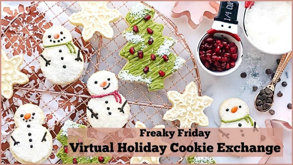 Banner with cookies and text about the Freaky Friday Cookie Exchange