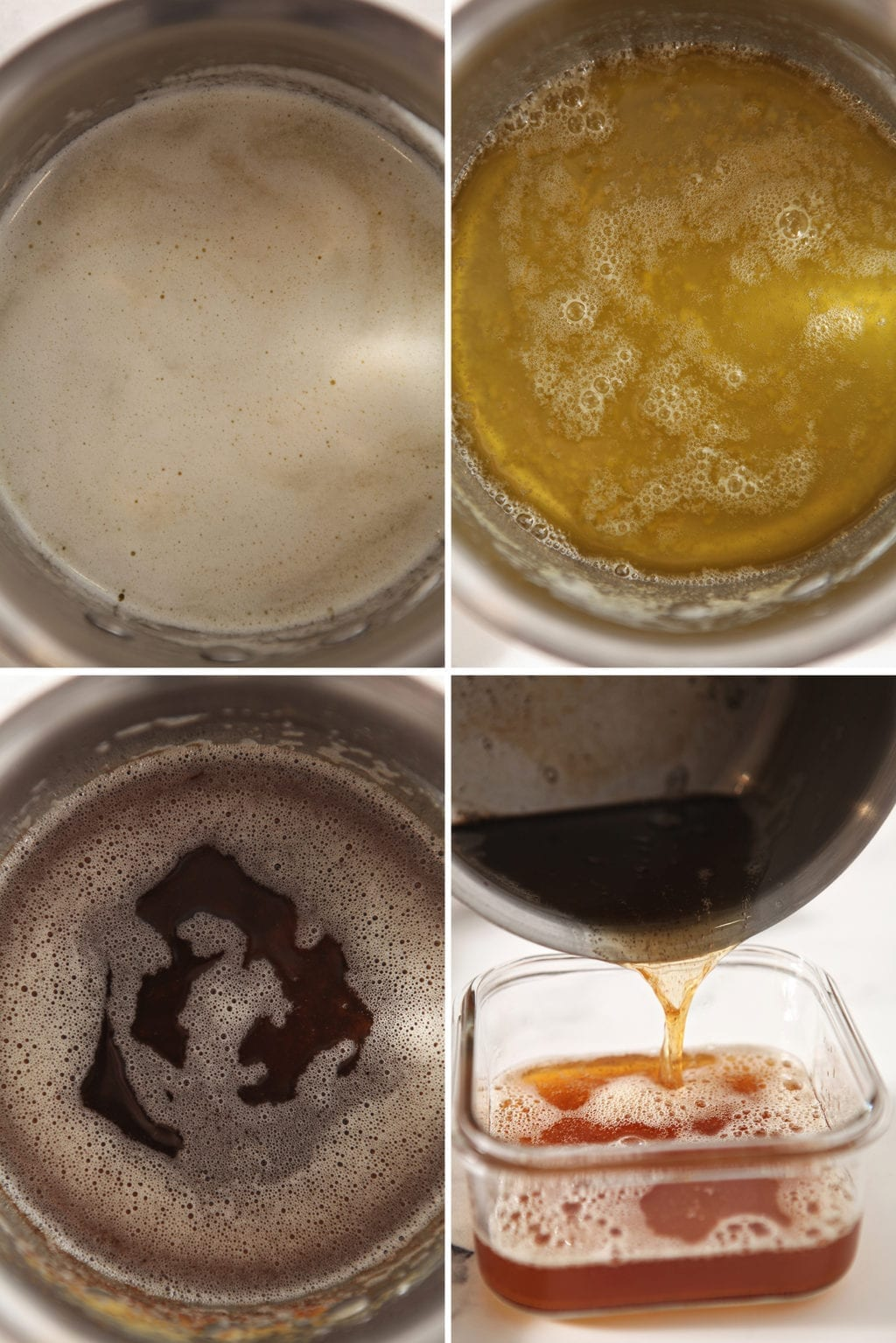 Collage showing how to brown butter in a pan