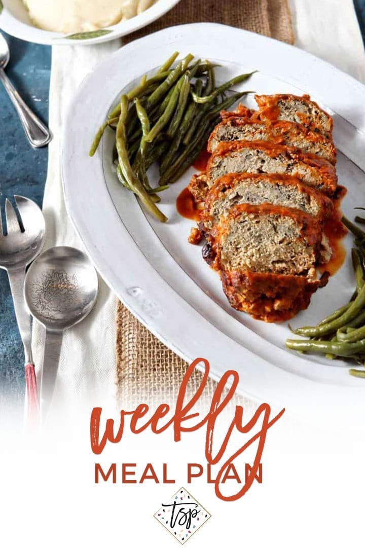 Pinterest image for Dinner Divas Weekly Meal Plan 139, featuring a close up of the Slow Cooker Turkey Meatloaf