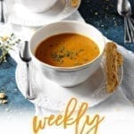 Pinterest image for Dinner Divas Weekly Meal Plan 138, featuring a close up of the Sweet Potato Bisque
