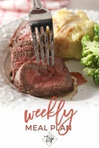 Pinterest image for Dinner Divas Weekly Meal Plan 140, featuring a close up of Broiled Steak