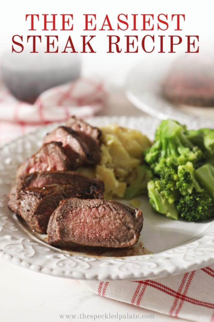 Close up of broiled steak on a plate with potatoes and broccoli, with text