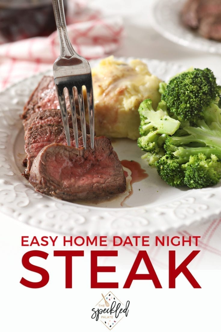 Ever wanted to learn how to make a fancy steak dinner at home without a grill? Learning how to broil steak in the oven is easier than you think and makes for a delicious meal, whether you're having at-home date night or hosting friends. #easyentertaining #speckledpalate