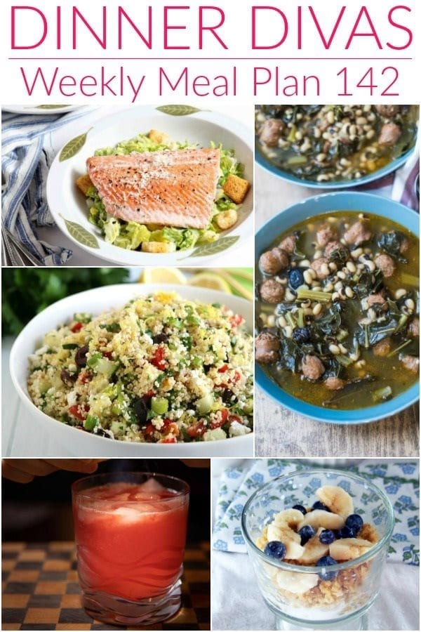 Collage for Dinner Divas Weekly Meal Plan 142, featuring five of the seven recipes shared