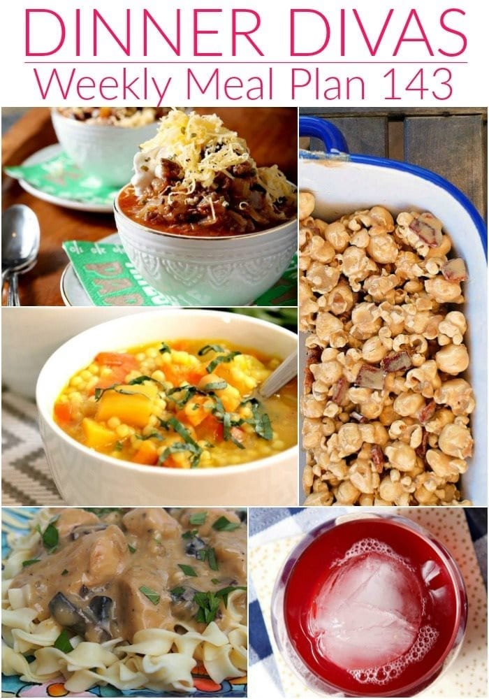 Collage for Dinner Divas Weekly Meal Plan 143, featuring five of the seven recipes shared