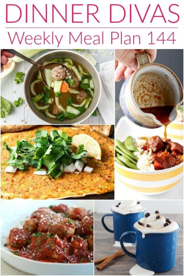 Collage for Dinner Divas Weekly Meal Plan 144, featuring five of the seven recipes shared