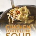 A ladle lifts Chicken Tortellini Soup out of the pot, with Pinterest text