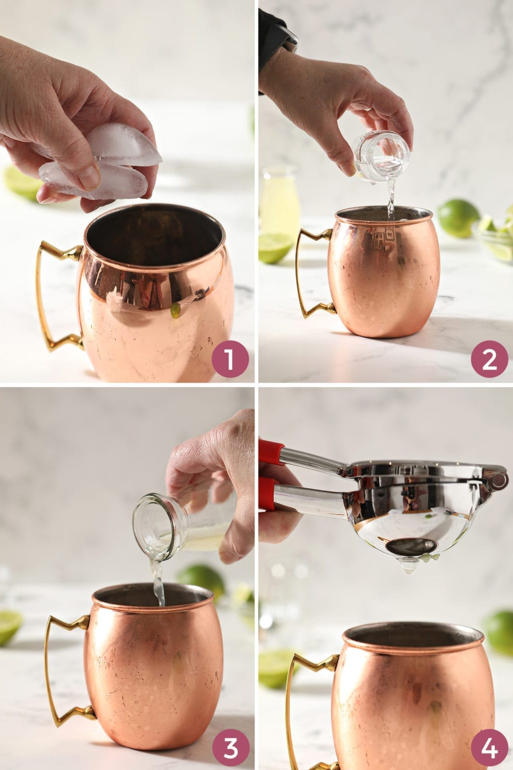 A collage of four images showing what order to add ingredients to a Moscow Mule copper mug