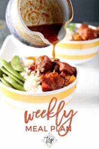 Collage for Dinner Divas Weekly Meal Plan 144, featuring an image of Honey Sriracha Chicken and Rice Bowls