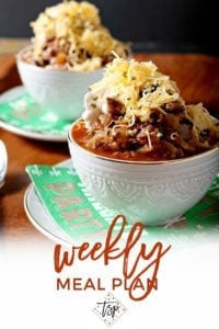 Pinterest image for Dinner Divas Weekly Meal Plan 143, featuring a close up of Shiner Bock Beer Chili