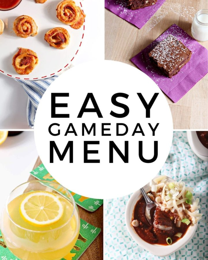 Pinterest collage of a GAMEDAY MENU featuring four images and text