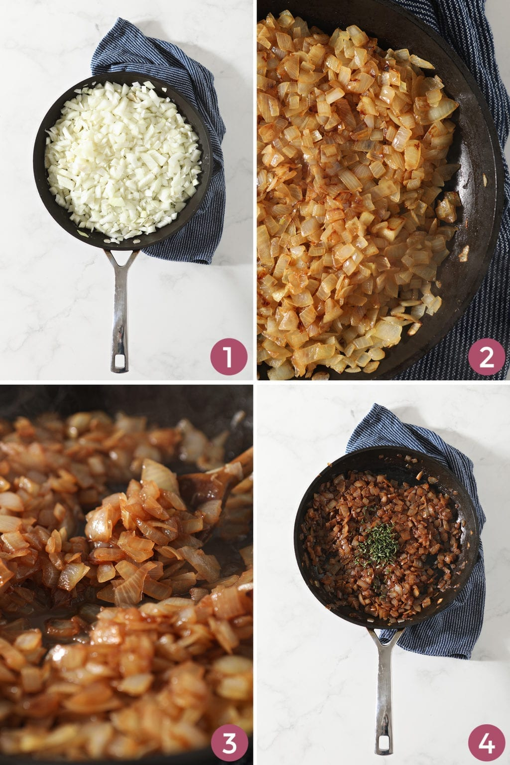 Collage of four images showing the stages of French Onion Marmalade in a skillet from above