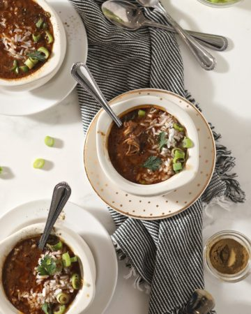 Three bowls of Instant Pot Gumbo, from above