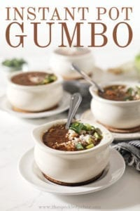 Four bowls of Instant Pot gumbo on a white background, with Pinterest text