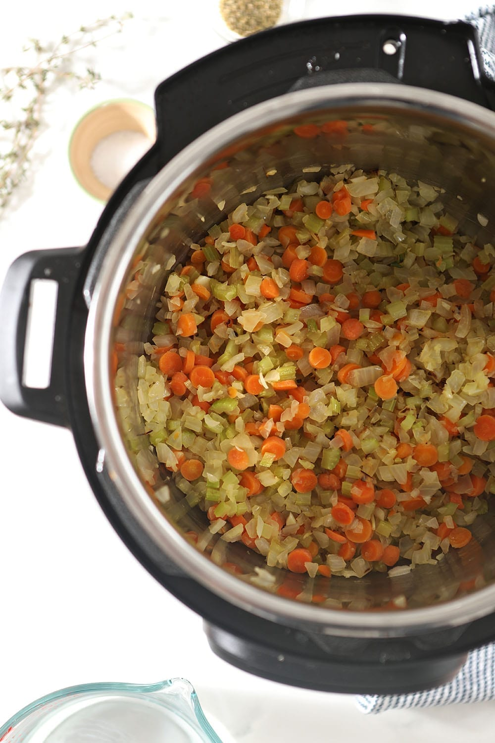 Vegetables are sauteed in the Instant Pot, from above