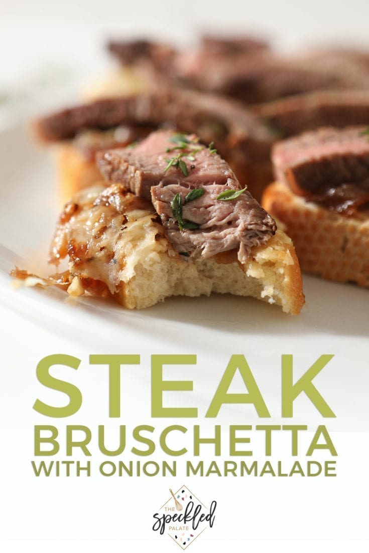 Steak Bruschetta with French Onion Marmalade makes the perfect party appetizer! This meat, cheese and oniony starter is great for sharing. #easyentertaining #footballfood #speckledpalate #ad