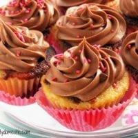 Dessert Idea #2:Red Velvet Vanilla Marble Cupcakes with Milk Chocolate Buttercream