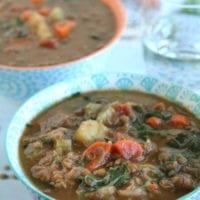 Thursday's Dinner:Slow Cooker Lentil Soup with Ham