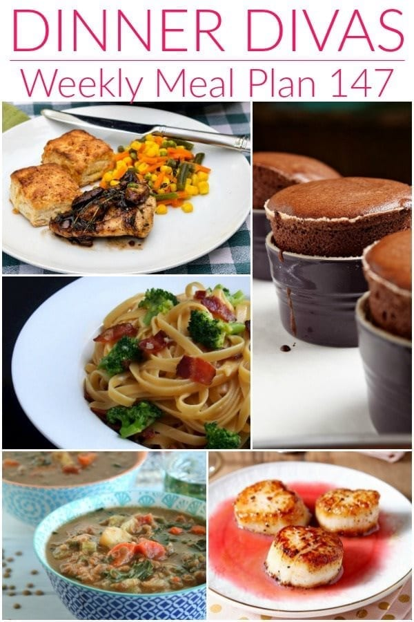 Collage for Dinner Divas Weekly Meal Plan 147, featuring five of the seven recipes shared