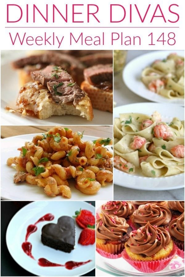 Collage for Dinner Divas Weekly Meal Plan 148, featuring five of the seven recipes shared