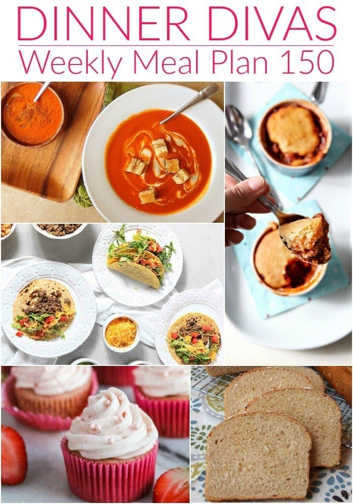 Collage for Dinner Divas Weekly Meal Plan 150, featuring five of the seven recipes shared