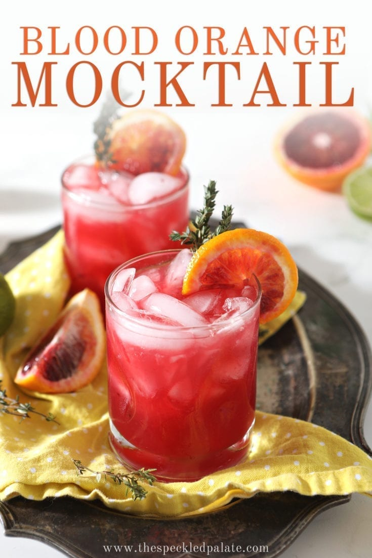 Blood Orange Mocktail Mules are a lightly, refreshing wintertime sipper. Made with a few simple ingredients, this nonalcoholic drink is perfect for sharing. #easyentertaining #speckledpalate #ad