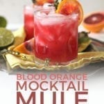 Close up of two Blood Orange Mocktail Mules on a platter, with Pinterest text