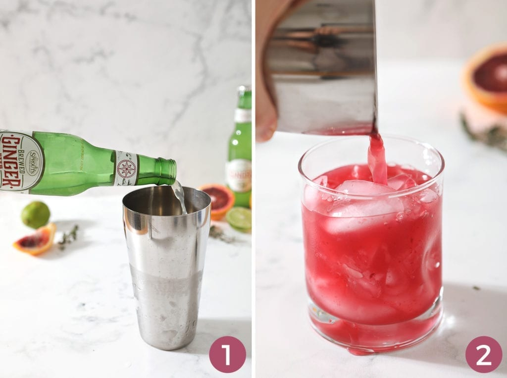 Collage of two images showing how to pour in the ginger beer and how to strain the orange mocktail into a glass