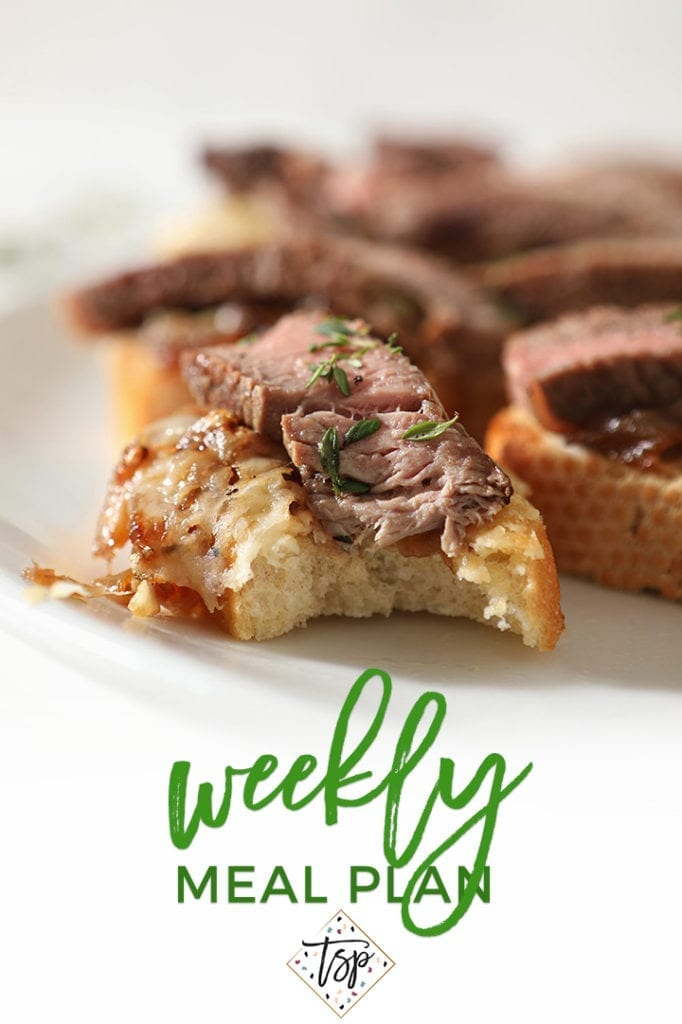 Pinterest image for Dinner Divas Weekly Meal Plan 148, featuring a close up of Steak Bruschetta with French Onion Marmalade