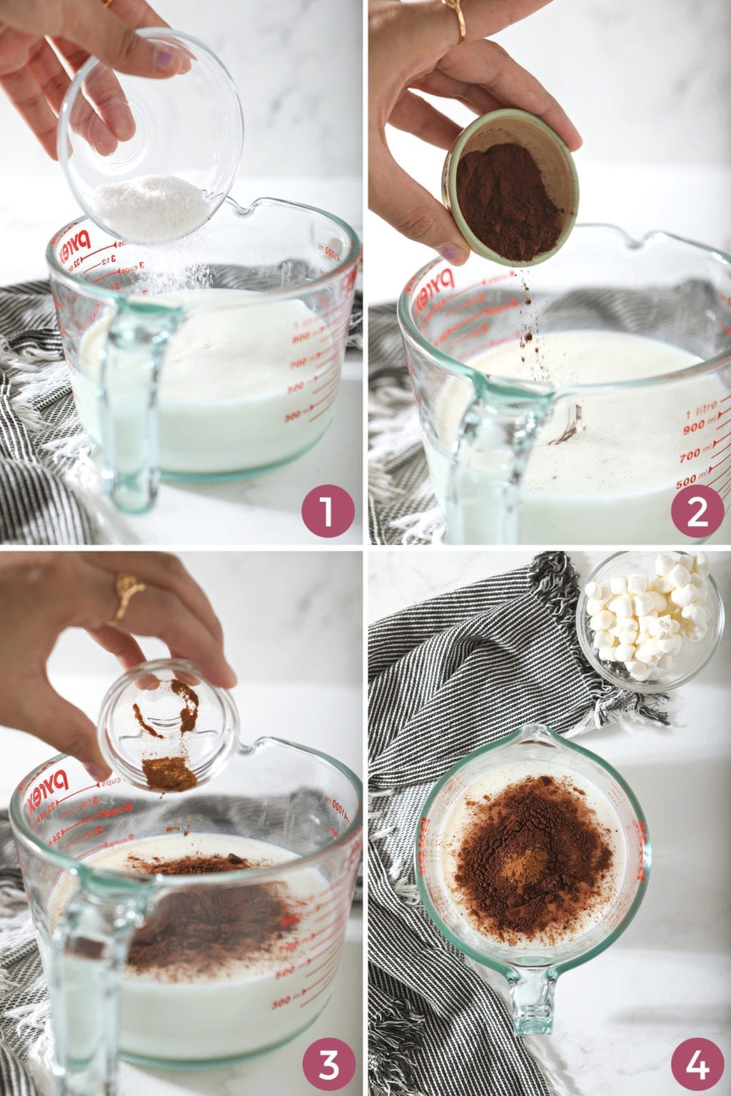 A collage of four images shows how to measure in the ingredients and how the cocoa looks before heating
