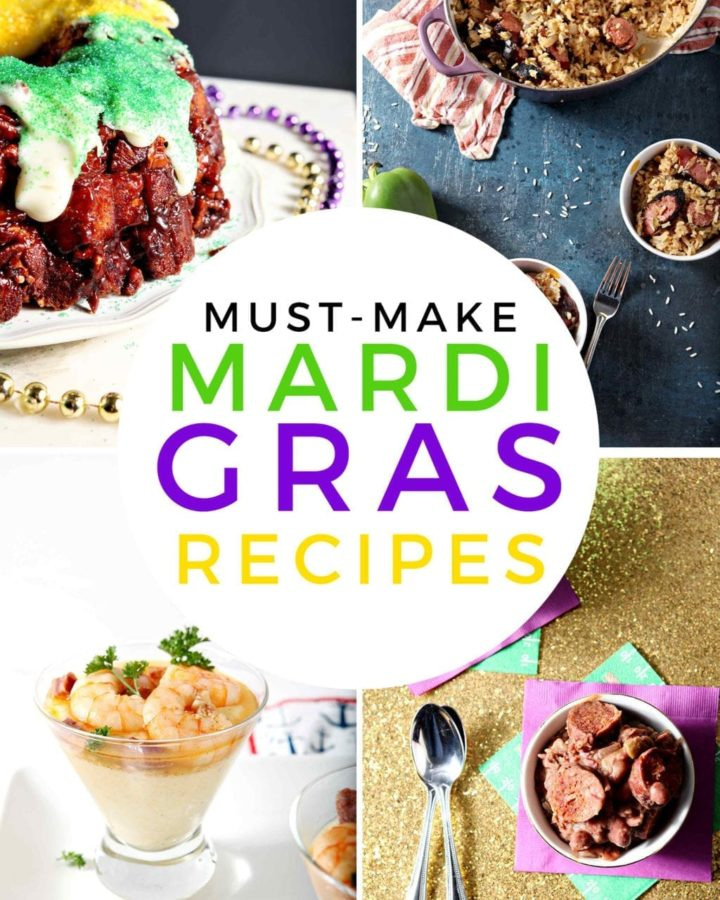 Collage of Mardi Gras Recipes, featuring a king cake, jambalaya, shrimp and grits and red beans and rice