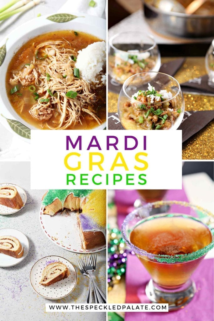 Collage of four Mardi Gras recipe images with Pinterest text
