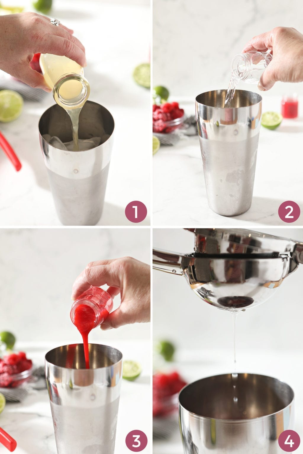 Collage of four images showing how to mix a Raspberry Moscow Mule