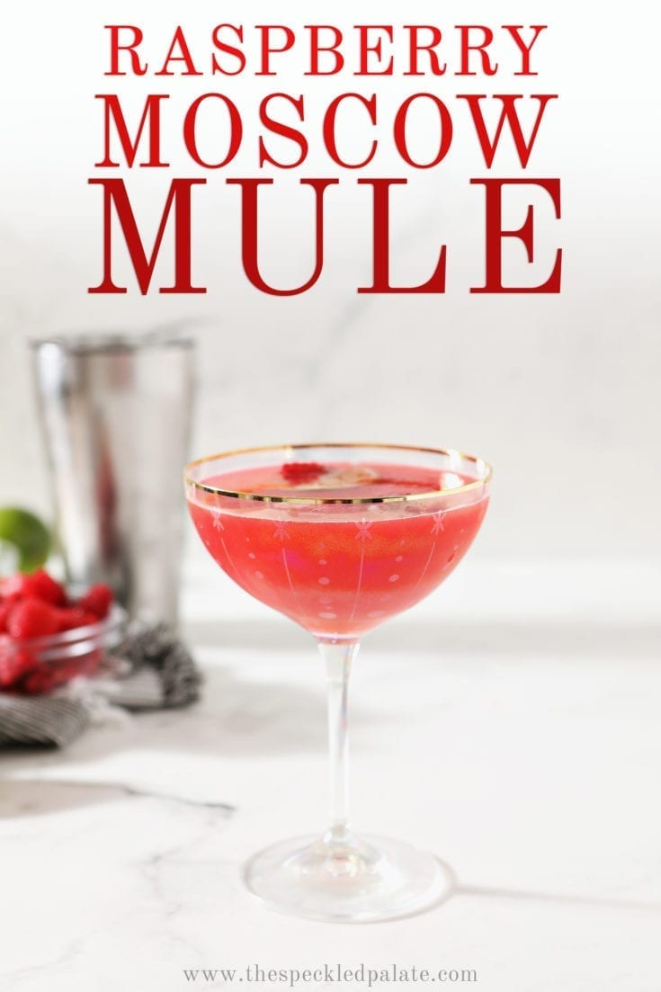 Tart with a hint of sweetness, the Raspberry Moscow Mule is a beautiful mixed drink that is easy to make at home. #datenight #valentinesday #speckledpalate