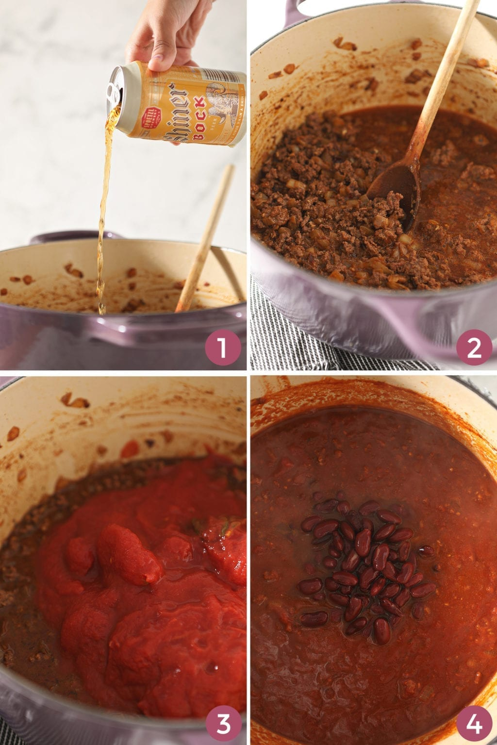 A collage of four images shows when to add the beer and what the chili should look like as it thickens in the pot