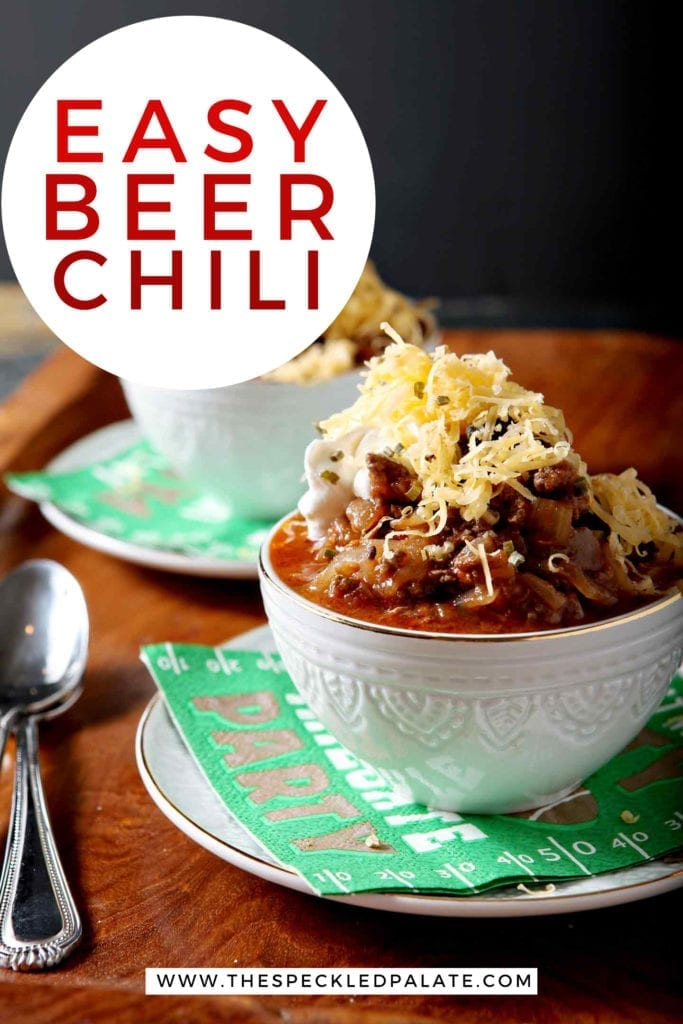 Pinterest image for Shiner Bock Beer Chili, featuring two bowls from the side with text