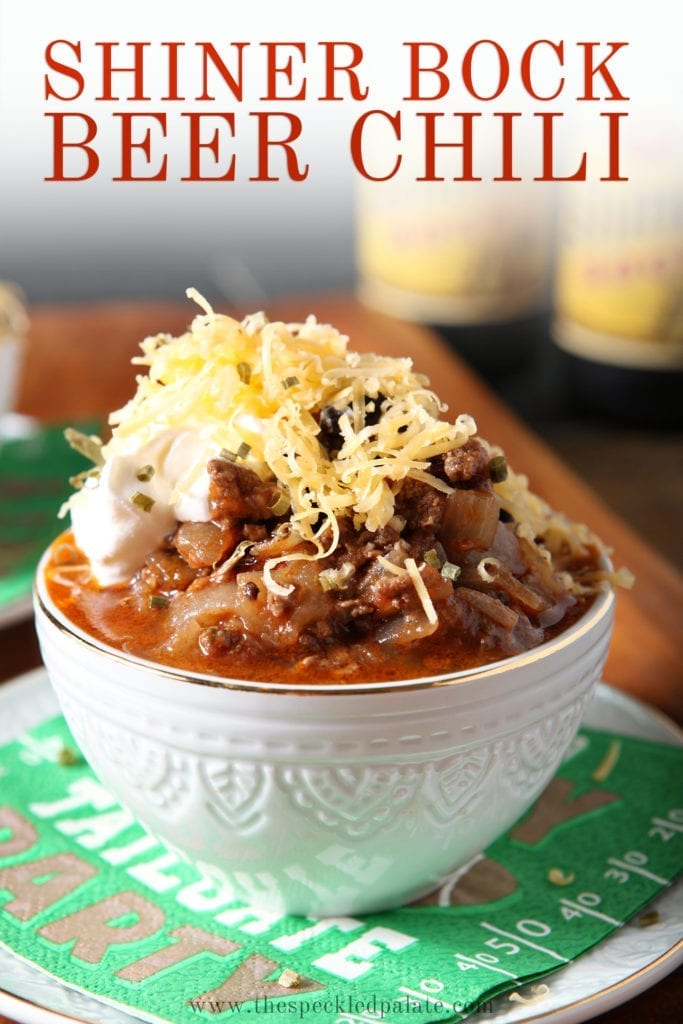 Pinterest image for Shiner Bock Beer Chili, featuring a close up of one bowl, from the side