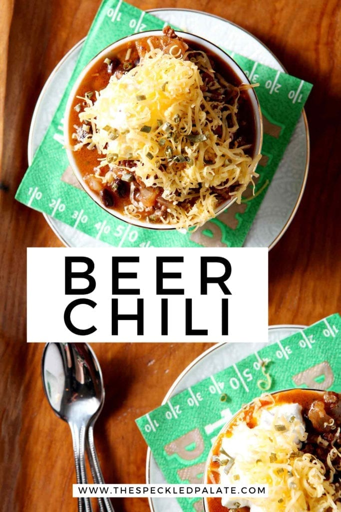 Pinterest image for Shiner Bock Beer Chili, featuring two bowls from above