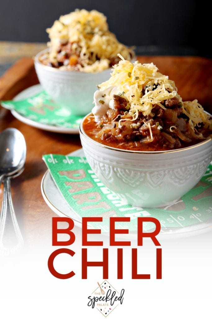 Pinterest image for Shiner Bock Beer Chili, featuring two bowls dressed from a 45 degree angle