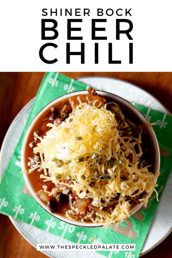 Pinterest image for Shiner Bock Beer Chili, featuring a closeup of a singular bowl from above