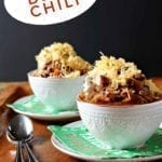 Pinterest image for Shiner Bock Beer Chili, featuring two bowls from straight on