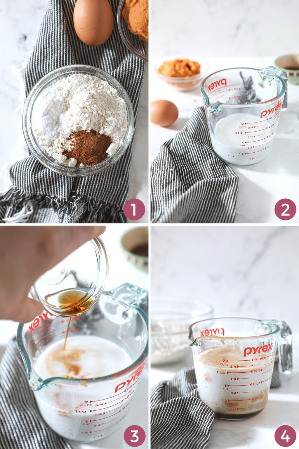 A collage of four photos shows how to combine the ingredients to make the pancake batter