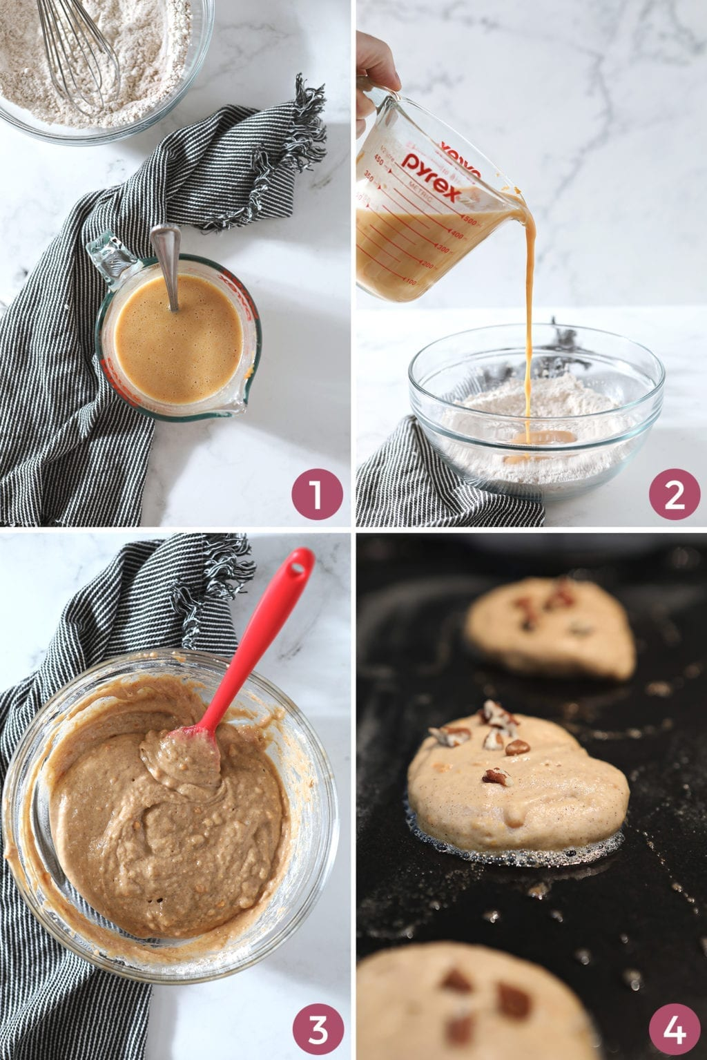 A collage of four photos shows how to combine the ingredients to make the pancake batter, as well as how to cook it on a griddle