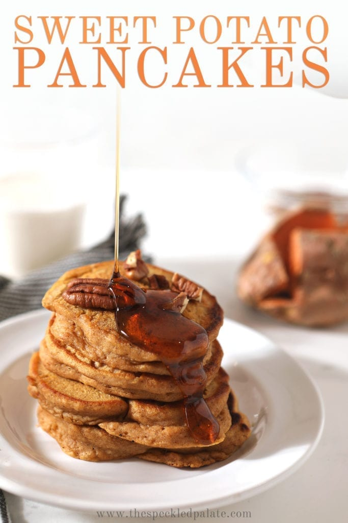Close up of maple syrup being drizzled onto a stack of Sweet Potato Pancakes, with Pinterest text